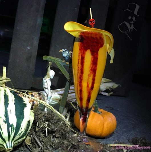 A dash of pumpkin juice brings fall into this Halloween themed Velvet Vampire cocktail.