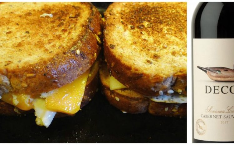 Comfort food grilled cheese sandwich, try wine pairing with Decoy Cabernet Sauvignon.