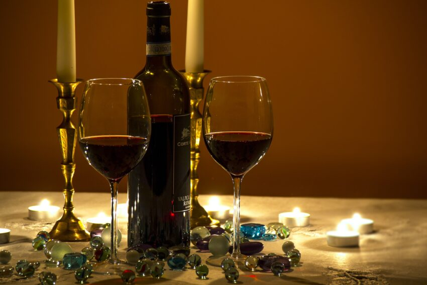 Invite a friend to unwind and relax with you over a glass of red wine.