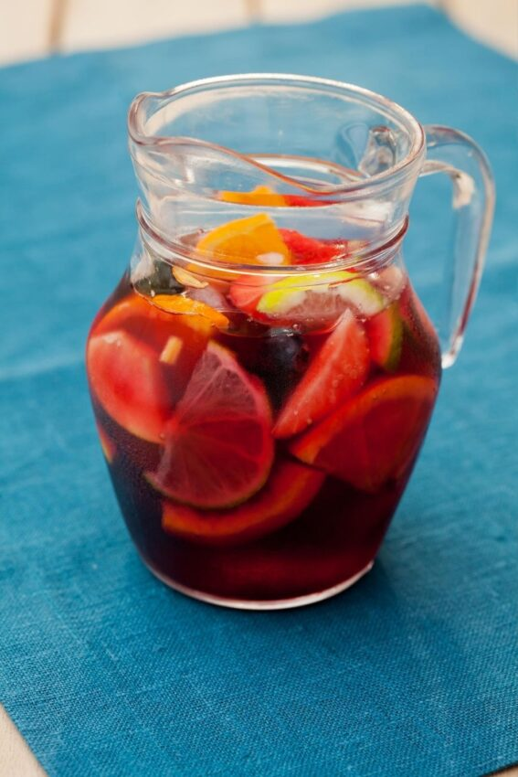 This sangria recipe is made with red wine but it doesn't have to be.