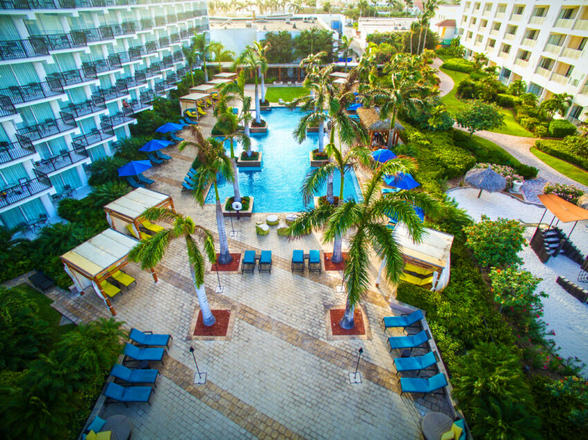 With an outdoor pool facing the Caribbean Ocean, Marriott's Aruba Ocean Club offers an on-site spa, casino and fine dining -- and signature drinks.