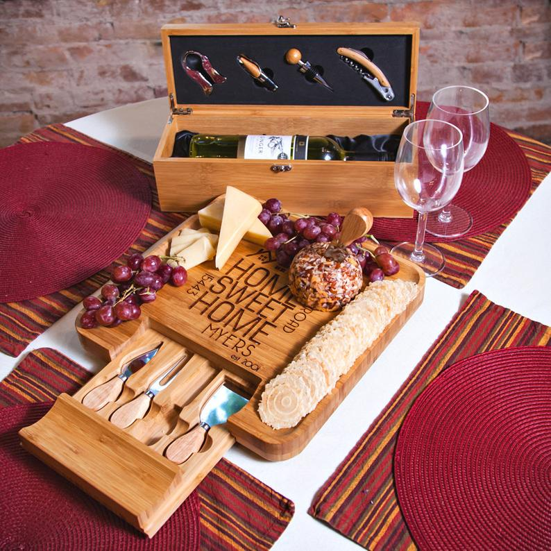 Up your Charcuterie game with personalized cheese boards from Etsy.