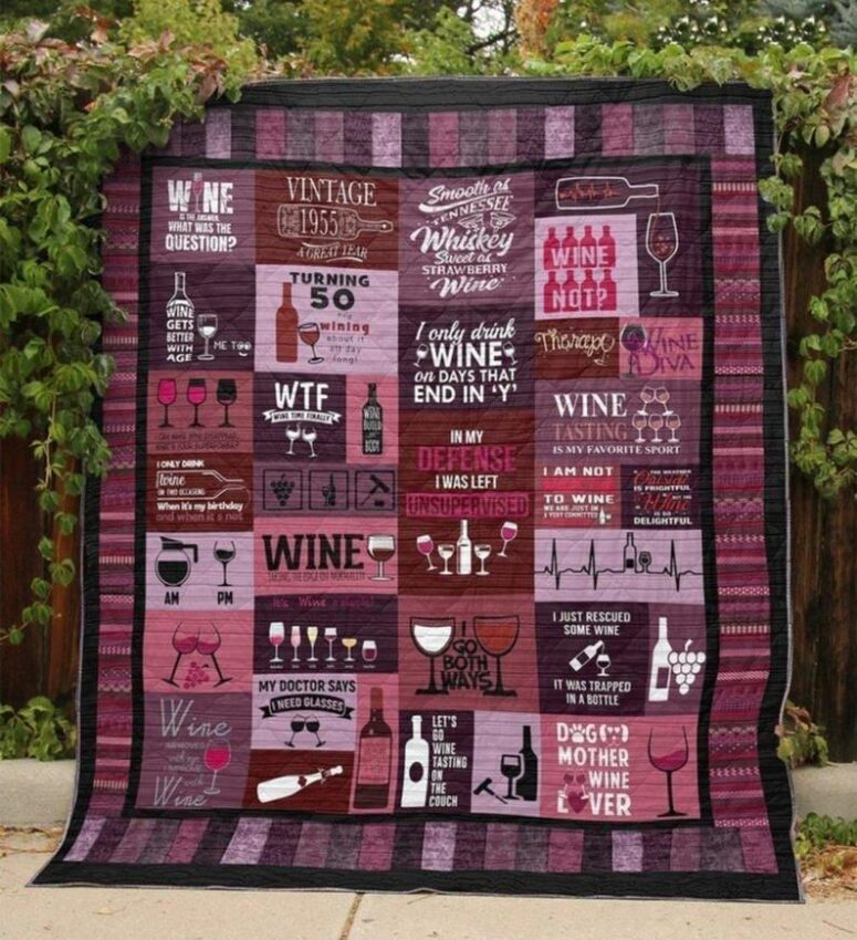 Snuggle under a wine-themed quilt with a good glass of wine. Photo: Etsy